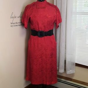 Vintage 1980s red brocade silk Polyester dress